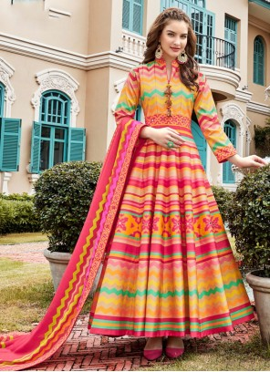 Multi Colour Silk Trendy Anarkali Salwar Suit