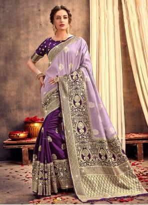 Multi Colour Silk Weaving Contemporary Saree