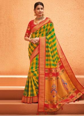 Multi Colour Silk Weaving Traditional Saree