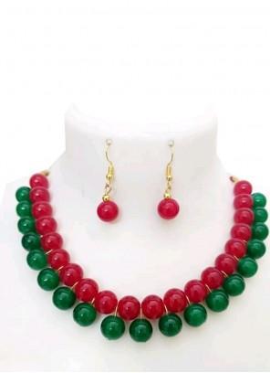 Multi Colour Stone Work Necklace Set