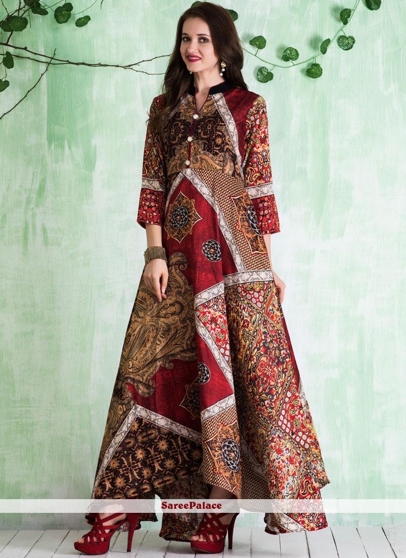 Multi Colour Tussar Silk Print Work Readymade Gown