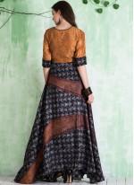Multi Colour Tussar Silk Readymade Gown
