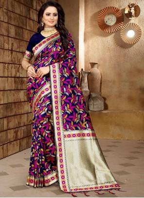 Multi Colour Weaving Banarasi Silk Classic Saree