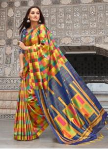 Multi Colour Weaving Silk Trendy Saree
