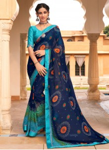 Multi Colour Weight Less Abstract Printed Saree