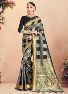 Multi Colour Woven Art Banarasi Silk Designer Traditional Saree
