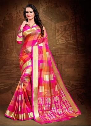Multi Colour Woven Art Silk Classic Designer Saree