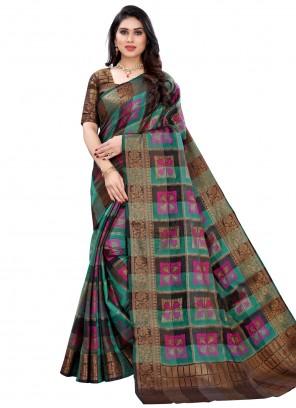 Multi Colour Woven Banglori Silk Traditional Designer Saree