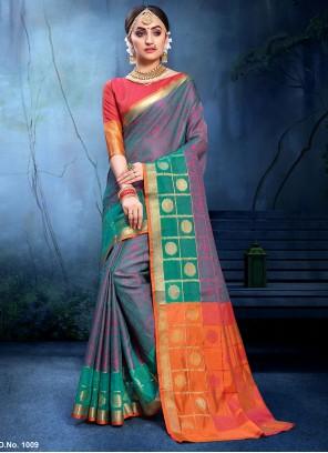 Multi Colour Woven Cotton Silk Traditional Saree