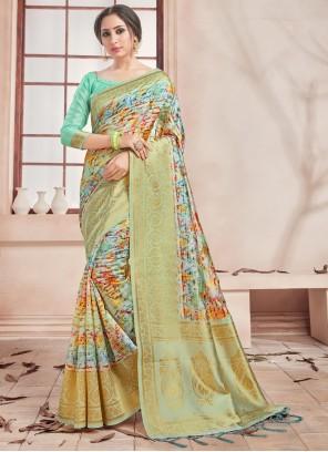 Multi Colour Woven Printed Saree