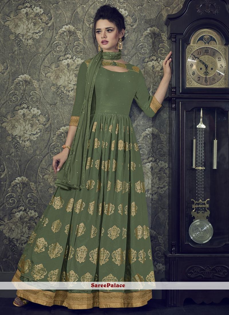 Muslin Aari Floor Length Anarkali Suit in Green