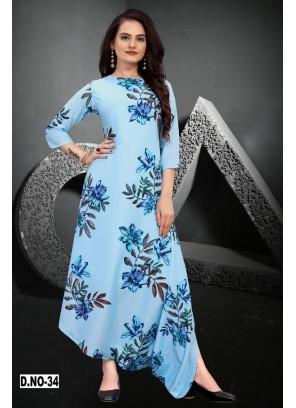Muslin Blue Designer Kurti