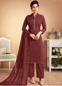 Muslin Brown Embroidered Designer Palazzo Suit