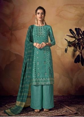 Muslin Sea Green Ceremonial Designer Palazzo Suit