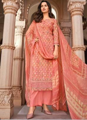 Muslin Digital Print Pink Designer Palazzo Salwar Suit