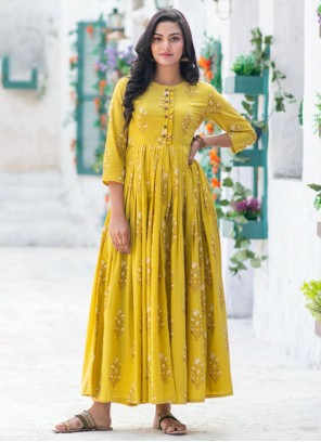 Muslin Digital Print Readymade Gown