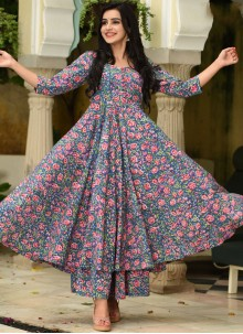 Muslin Digital Print Trendy Palazzo Suit in Blue and Pink