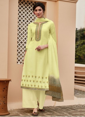 Muslin Embroidered Designer Palazzo Salwar Suit in Yellow