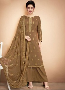 Muslin Embroidered Green Designer Palazzo Suit