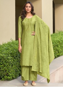 Muslin Embroidered Green Pant Style Suit