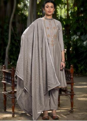 Muslin Embroidered Grey Designer Pakistani Suit