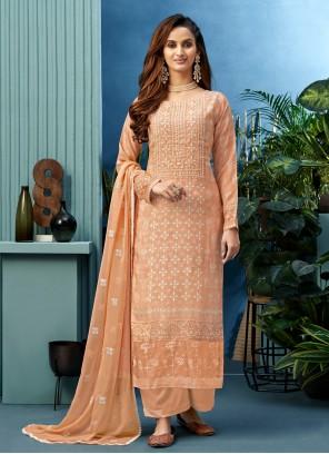 Muslin Embroidered Peach Designer Palazzo Salwar Suit