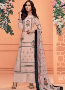 Muslin Embroidered Pink Readymade Suit