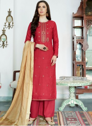 Muslin Embroidered Red Designer Palazzo Suit
