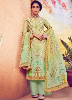 Muslin Green Designer Palazzo Suit