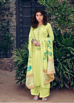 Muslin Green Digital Print Designer Pakistani Suit