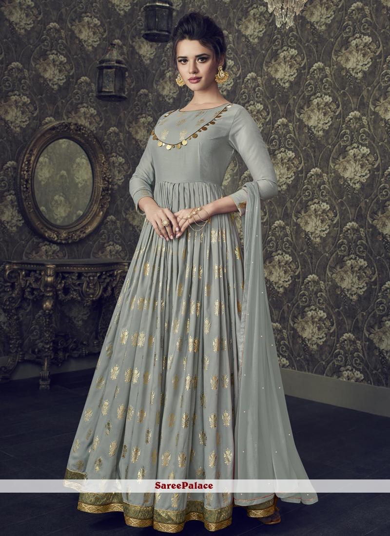 Muslin Grey Embroidered Floor Length Anarkali Suit