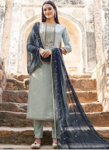 Muslin Grey Embroidered Salwar Suit