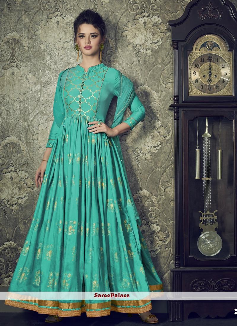 Sea Green Muslin Lace Floor Length Anarkali Suit