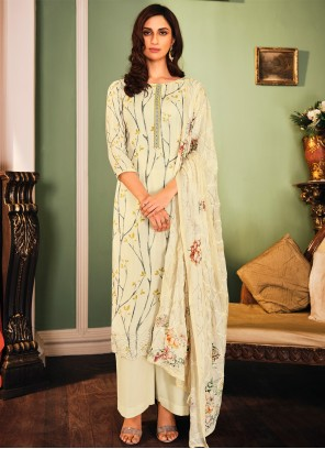 Muslin Off White Designer Palazzo Salwar Kameez