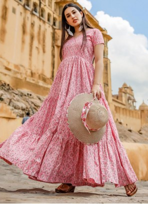 Muslin Printed Pink Readymade Gown