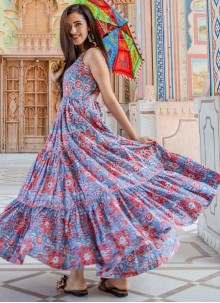 Muslin Printed Readymade Trendy Gown
