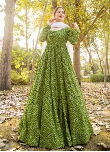 Muslin Readymade Suit in Green