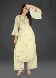 Muslin Resham Readymade Salwar Kameez in Yellow