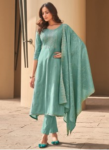 Muslin Sea Green Pant Style Suit