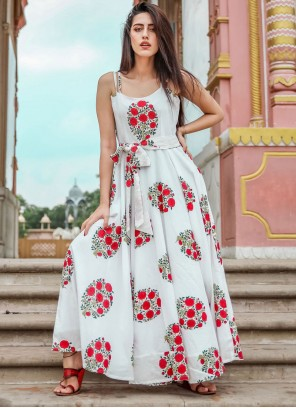 Muslin White Printed Trendy Gown