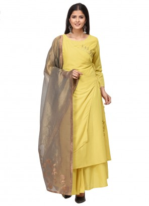 Muslin Yellow Embroidered Salwar Suit