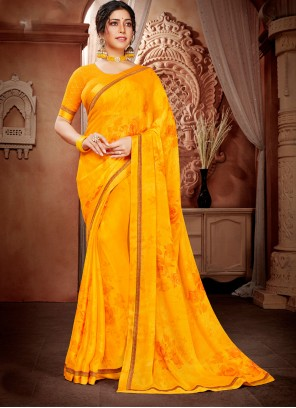 Mustard Abstract Print Faux Georgette Saree