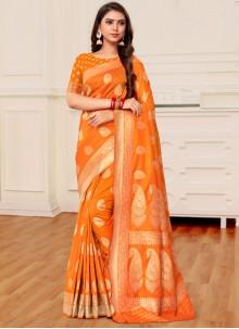 Mustard and Orange Banarasi Silk Half N Half Trendy Saree
