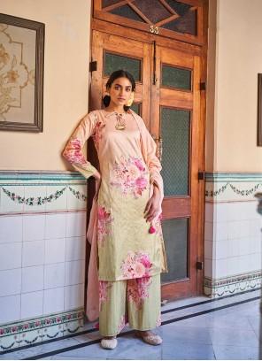 Mustard and Peach Art Silk Festival Designer Palazzo Suit