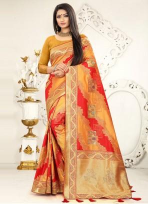 Mustard and Red Banarasi Silk Designer Traditional Saree