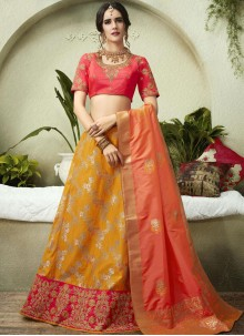 Mustard and Rose Pink Embroidered Lehenga Choli