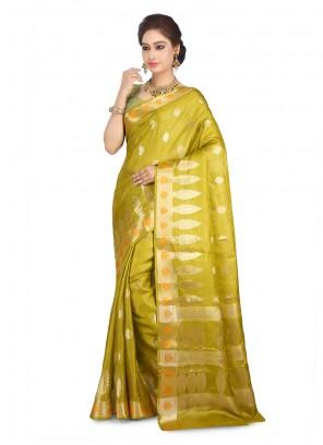 Mustard Art Banarasi Silk Designer Traditional Saree