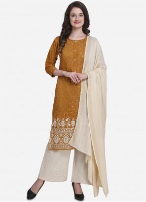 Mustard Art Silk Palazzo Salwar Suit