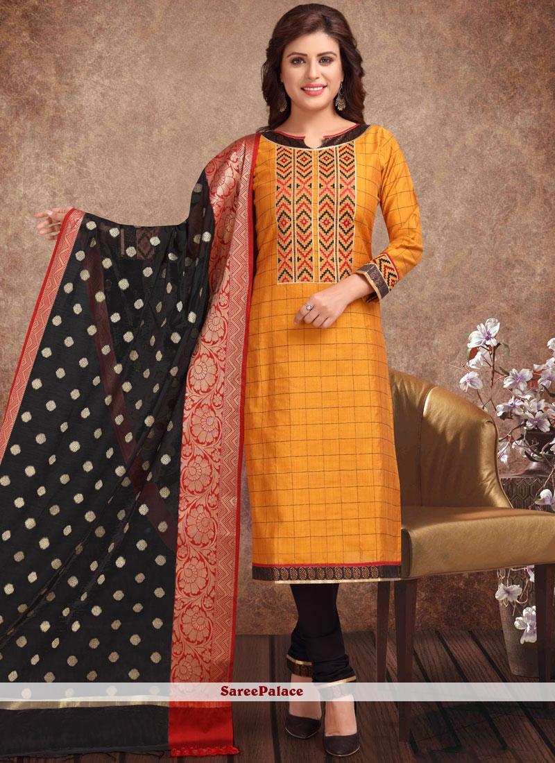a2642fbcc Buy Mustard Banarasi Silk Churidar Suit Online