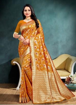 Mustard Banarasi Silk Traditional Saree